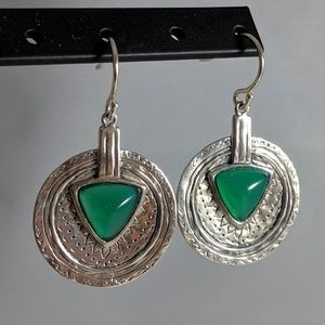 Green agate and Sterling silver with french wires